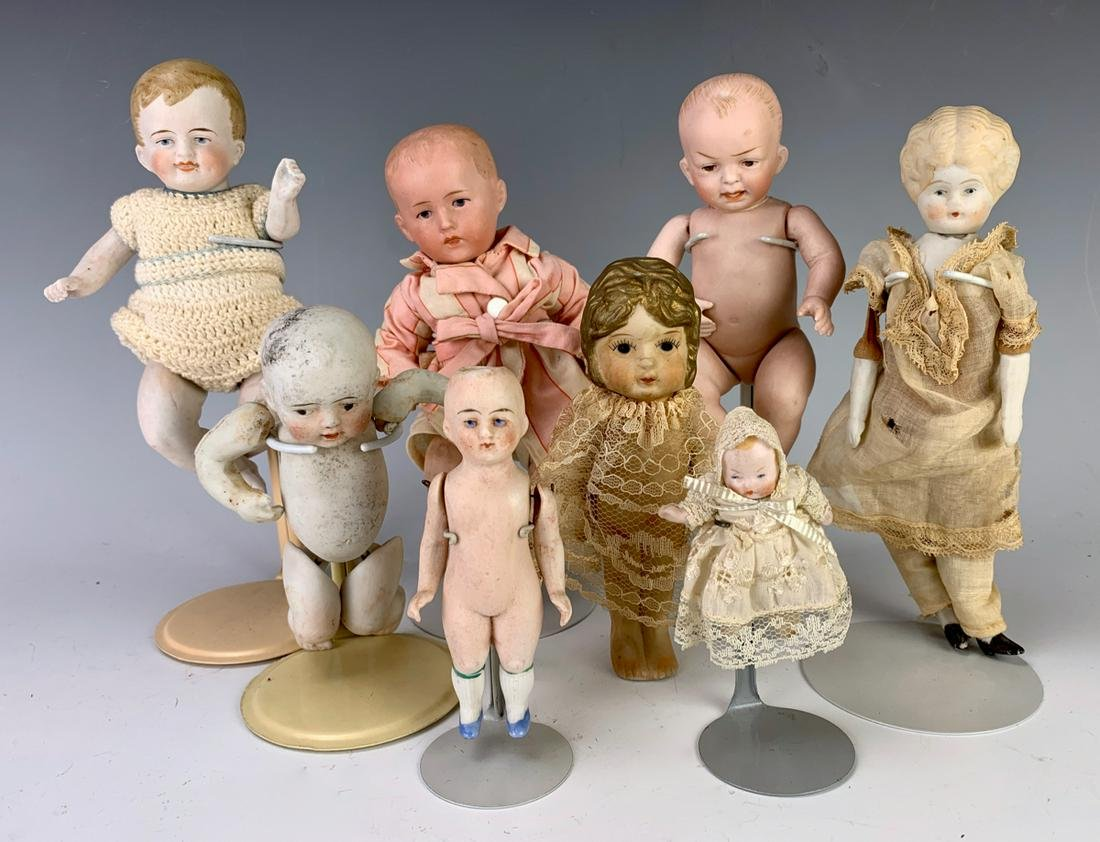 Group of 8 Antique Bisque Baby Dolls