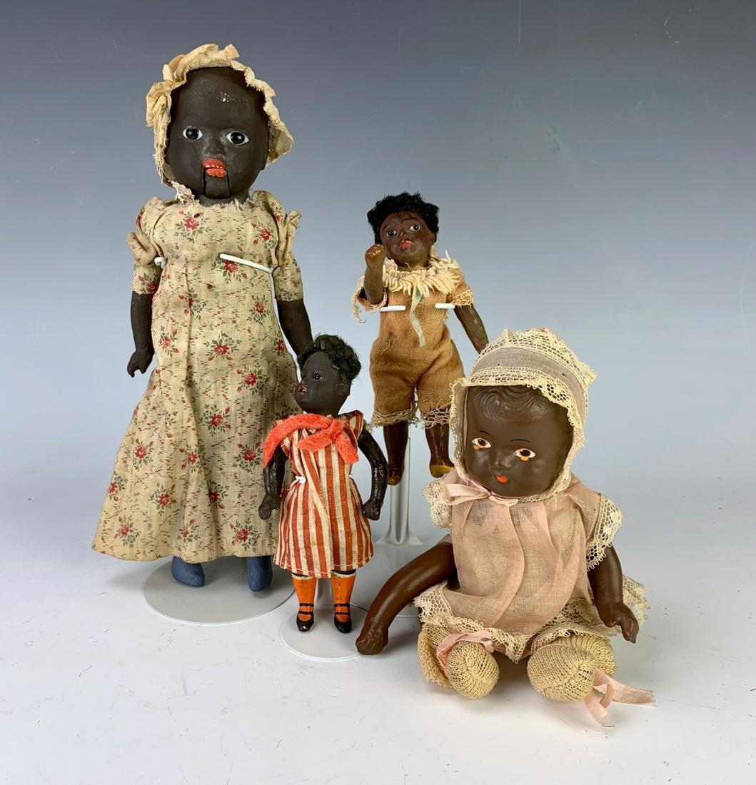 Group of 4 Antique Black Americana Dolls