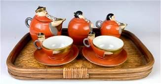 Robj Porcelain Five Piece Figural Tea Set for Two