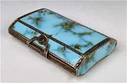 Turquoise Enamel & Silver Ladies Compact C. 1920s
