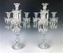 Pair French Baccarat Crystal Candelabra