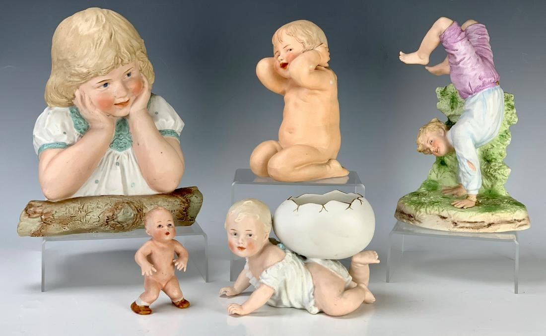 5 G. Heubach Bisque Figures Late 19th C.