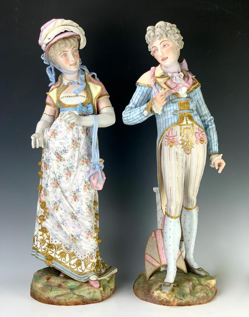 Pair of Tall Antique French Bisque Figures