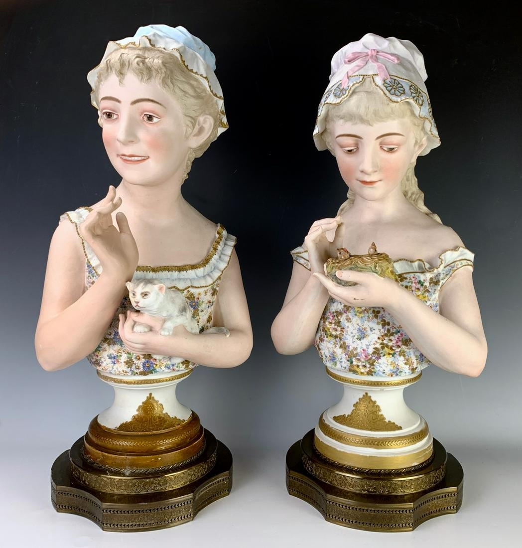 Pair Large Antique Bisque Busts with Cat & Birds
