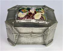 Arts  Crafts Boston School Pewter  Enamel Box