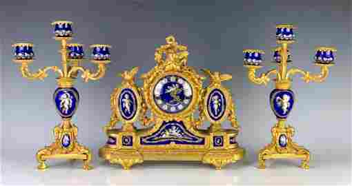 Louis XV Gilt Bronze & Porcelain Clock Garniture