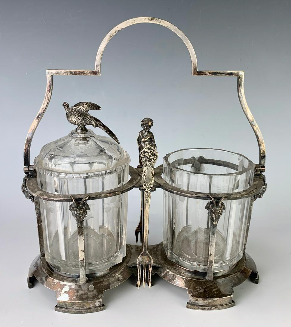 Meridan Silver Plate Double Pickle Castor C. 1880