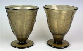 Pair Daum Nancy Art Deco Acid Cut Vases C 1920s
