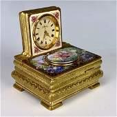 Rare Greisbaum Enameled Singing Bird Box with Clock