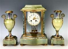 Champleve, Onyx & Bronze 3pc Clock Set