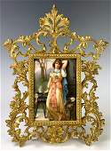 German Hand Painted Lady Outdoor Porcelain Plaque