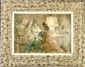 "Louis Icart (1888-1950) ""The Tea"" Oil on Canvas"