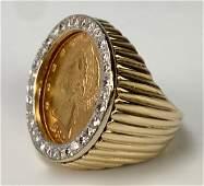 14K YG 1882 US Five Dollar Coin  Diamond Ring