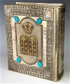 Ornate Silver Plated Jewish Bible Hebrew  English