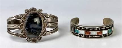 2 Sterling Indian Bracelets w/ Jasper & Coral
