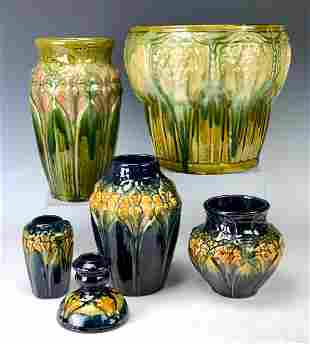 Lot of 6 Art Pottery Majolica Pieces