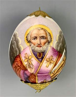 "Russian Porcelain Egg ""Nicholas the Miracle"""