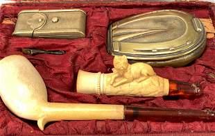 Unusual Meerschaum Pipes & Accesories in Box