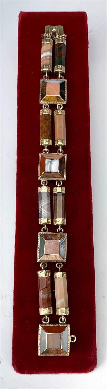 Victorian Scottish Agate 10K Gold Bracelet