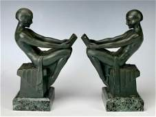 Pair Max LeVerrier 18911973 Art Deco Bookends