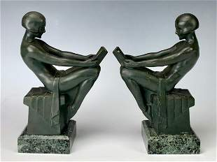 Pair Max LeVerrier (1891-1973) Art Deco Bookends