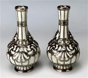 Pair KPM Sterling Silver Overlay Vases
