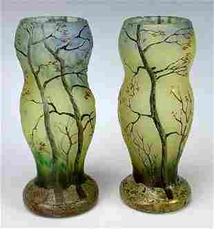 "Rare Pair LeGras Cameo ""Edge of the Forest"" Vases"