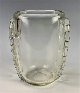 Signed Schneider Art Deco Glass Vase w/ Handles