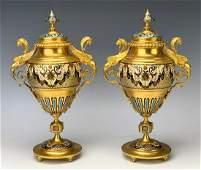 Pair Gilt Bronze & Champleve Enamel Urns C. 1880
