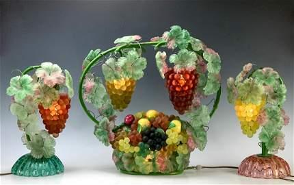 Rare Murano Glass 3 Piece Grapes Lamp Set