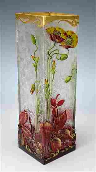 Attr: Baccarat Art Nouveau Cameo Vase C. 1890