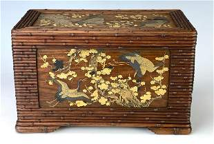 Meiji Period Lacquer & Carved Wood 2 Drawer Box