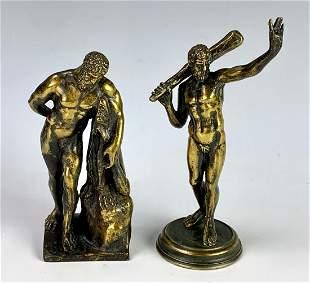 Pair Grand Tour 19th C Bronze Figurines, Hercules
