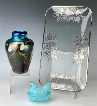 Silver Overlay Plate & Grant Randolph Vase