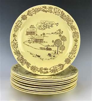 10 Vintage Royal China Bucks County Chop Plates