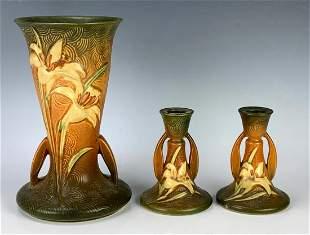 Roseville Zephyr Lily Vases & Candle Holders