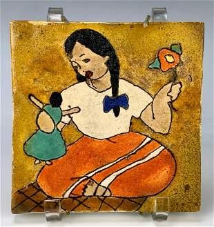 "San Jose Pottery Tile ""Girl with Doll"""