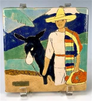 San Jose Pottery Tile Man with Burrow