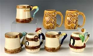 7 Novelty Handled American Art Pottery Mugs