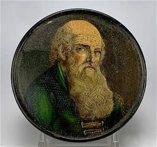 19th C. Snuff Box w/ Portrait of Bearded Man