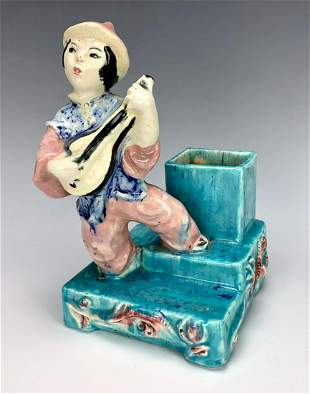 Suzy Singer CA Faience Pottery Figural Planter