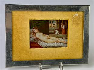 """Miniature Painting """"Nude"""" and Frame C. 1900"""
