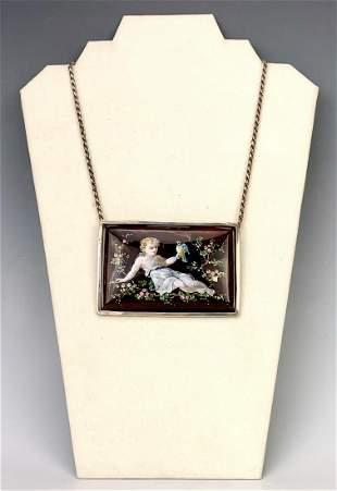 Limoges Enamel Large Pendant & Silver Necklace