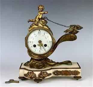 "Louis XV Style French Clock ""Putti & 3 Birds"""