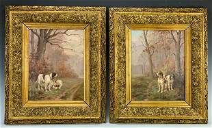 L. Darey (1863-1914) Pair Hunting Dog Paintings