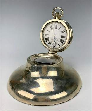 English Sterling Silver Inkwell with Watch