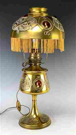 Antique Brass Porcelain Portraits & Jeweled Lamps