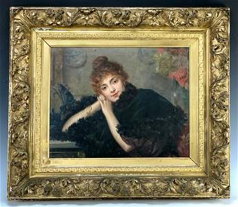 """Paul De La Boulaye (1849-1926) """"Elegant Lady"""""""