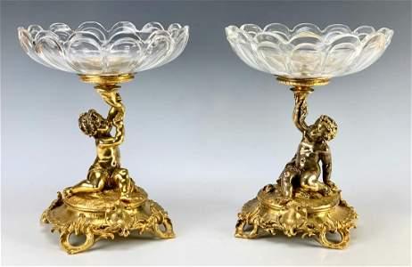 Pair Christofle Gilt Bronze Putti Crystal Compotes