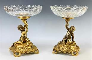 Pair Christofle Gilt Bronze Putti Crystal Compotes